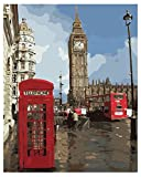 WOWDECOR Malen nach Zahlen Kits Geschenk für Erwachsene Kinder, DIY Ölgemälde Home Haus Dekor - Londoner Straße Big Ben Rot Telefonzelle 16 x 20 Zoll (Z34, Ohne Rahmen)