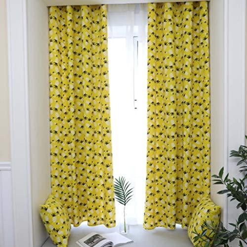 GZ-curtain Nordic Vorhänge - Kleine frische Vorhänge - Gelbe Ananas Blackout Vorhänge Schlafzimmer Kinderzimmer - Material: Baumwolle Größe: 140 * 215 cm