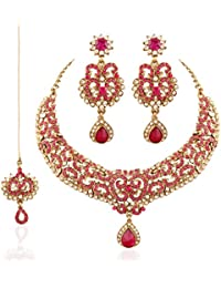 I Jewels Traditional Gold Plated Wedding Necklace Set With Maang Tikka For Women M4042Q (Rani/Pink)