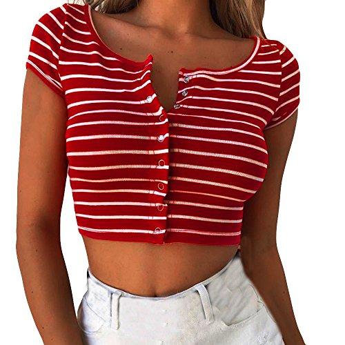 Crop Top Damen Sommer, Ulanda Teenager Mädchen Gestreift Bluse Sport Party Bauchfrei Tank Tops Weste Shirt Hemd Frauen Sommer Kurzarm Lässiges T Shirt Oberteil (Rot, L)