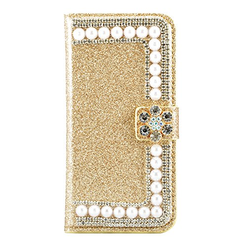 PU Cuir Case iPhone 7 Plus Mandala Fleurs Rétro Style Coque, Sunroyal Premium Embossed PU Leather Soft TPU Inner Housse Absorption de Choc et Anti-Scratch Téléphone Coque de Protection + 1 x Bling ant Bling Gold