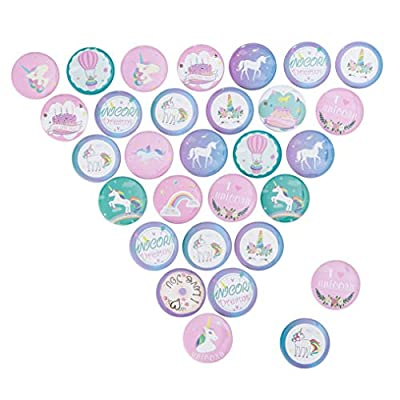 CozofLuv 30 Pcs Unicorn Pins Button Badge For Kids Birthday Party Unicorn theme Party Supplies