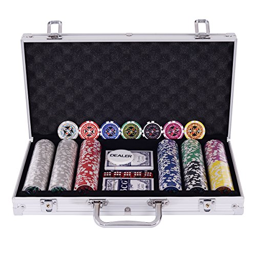 Pokerkoffer Pokerset mit 300 Pokerchips Laser Chips im Alu Koffer Schwarz/Silber inkl. 2 Kartendecks + 5 Würfel + 1 Dealer Button (Silber)