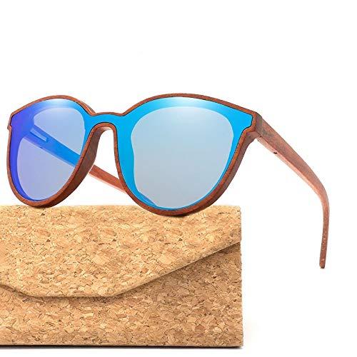 LKVNHP Holz Sonnenbrille Frauen/männer Runde Bambus Sonnenbrille Zebra Holzrahmen rot blau