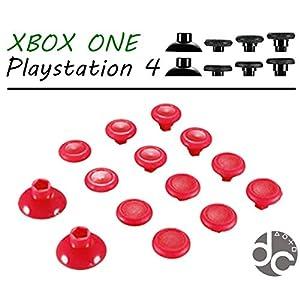 PS4 & XBOX1 Controller Thumbsticks 14in1 Austauschbare Aimsticks in 3 versch. Höhen in ROT