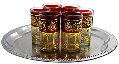 Glass Ware 6x Teegläser Marokko orientalische Teegläser rot-gold Gold Tee Gläser