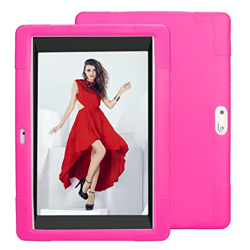 Voberry Hülle Case, Universal-Silikon-Hülle für 10 10,1 Zoll Android Tablet PC (Hot Pink)
