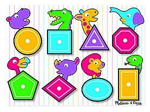 Melissa & Doug- Shapes Peg Juego Puzzle con 8 Piezas, Multicolor (Melissa&Doug 3285)