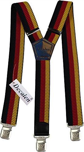 Hosenträger für Herren breit extra starken 4 cm mit 3er Clips Y-Form lange für Männer und Damen Hose alle Farben (Schwarz Rot Gelb)