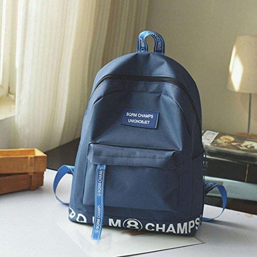Jamicy Donna uomini moda lettera stampata Canvas viaggio zaino scuola casual Backpack Blu