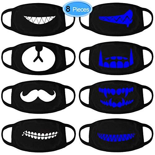 EAONE Mundmaske, 8 Stück Cool Luminous Unisex Gesichtsmaske Niedlichen Zähne Muster Kpop Maske Waschbar Anti Staub Baumwolle Mund Gesichtsmaske für Männer und Frauen (Schwarz mit Blauer Fluoreszenz)