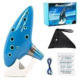 Kmise Ocarina 12 toni Alto C con cordino da collo per espositore per libro di canzoni (sky blue)