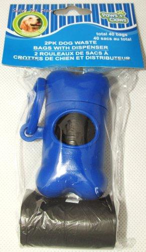 Dog Waste Bag Dispenser with 40 poop bags, Blue by Paws 'n' Claws (Hund Taschen Poop Waste)
