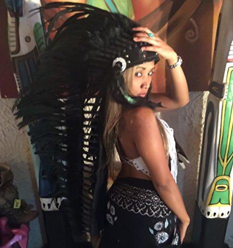 Federhaube Indianer Lang Premium, Karneval, Fotoshooting, Dekoration Kopfschmuck coiffe indienne Real Feather war bonnet Headdress Chief War bonnet Real Feathers Indian Headdress Little Big Horn ()