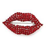 Sparkling Hot Lips broche de cristal rojo (bañado en plata, metal)