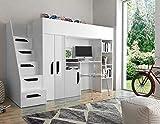 Furnistad | Hochbett für Kinder Sunrise | Kinderhochbett mit Treppe, Schreibtisch und Schrank (Weiß + Weiß + Schwarz, 90 x 200 cm)