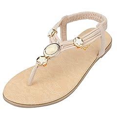 5582cb791ad8 SANMIO Women s Flat Sandals Summer Clip Toe Flip Flops Thongs .