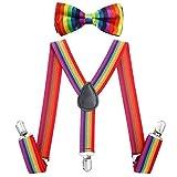 AWAYTR Kinder Jungen Hosenträger Fliege Set - Verstellbar Elastisch Hosenträger mit Krawatte Set für Jungen & Mädchen (Regenbogen Streifen)