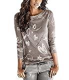 Yidarton Bluse Damen Langarmshit Herbst Winter Pullover Gedruckte Oberteil Hemd Herz Casual Loose T-Shirt Sweatshirt Tops (Hellbraun, S)