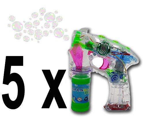 ☺ Brigamo 8188 - 5 x Seifenblasenpistole Party Set mit LED Licht OHNE nervigen Sound! Ideal für Party, Geburtstag oder Hochzeit ☺ thumbnail