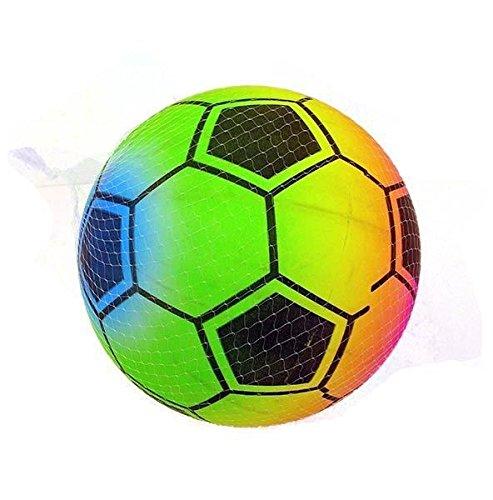 ((pacchetto di 3)) x palla da calcio rainbow 22cm (8 e 1/2 pollici) - pallina di gomma neonata per bambini, divertimento ideale per il parco giochi o il riempitore del sacchetto da partito.
