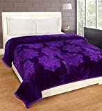 Cozyland Single Bed Mink Embossed Blanket - Purple