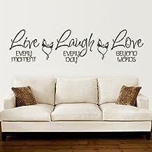 "Live every moment, Laugh every day love Beyond Words vinilo pared adhesivo Motivación doméstica adhesivo Mural Removable Familias pared decoración sintética, vinilo, custom, 14""hx57""w"