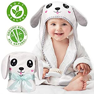 Kaome Hooded Baby Towel Organic Bamboo Large Size Bath Towel for Toddler, Soft and Super Absorbent Washcloth, Machine Washable Towel with Cute Ear Design for Baby Shower