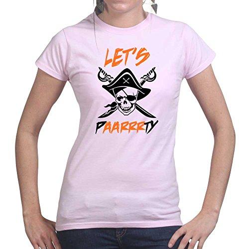 Womens Let's Paarrrty Halloween Pirate Costume Ladies T Shirt (Tee, Top) Pink
