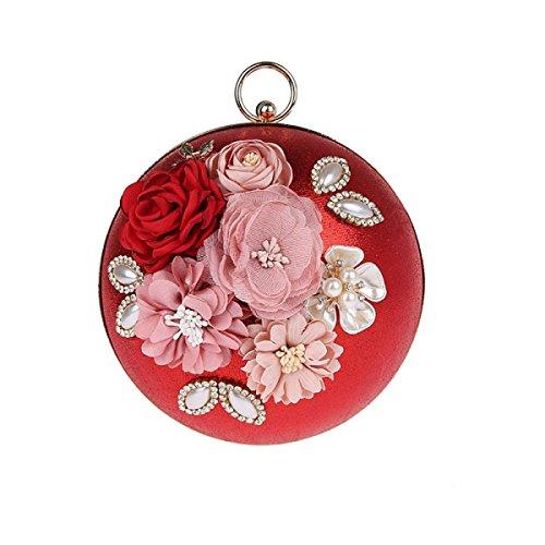 La Signora Diamante Fiore Mini Borsetta Della Forma Sferica Aspetto Della Personalità Red