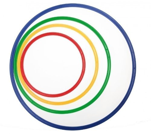 Flachreifen 4er Set / 4x Nylonreifen mit Flachprofil in 4 Größen: 40, 50, 60 und 70 cm Durchmesser / Farben: rot, gelb, grün, blau