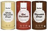 Xucker - 3er Schoko-Probierset (3 x 750 g) - Weiße, Zartbitter Schokodrops und Trinkschokoladen-Pulver