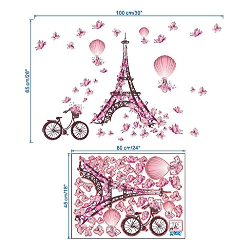 Madaye Paris Tower Pink Butterfly Living Room Bedroom Back Wall Sticker (Wallpaper Disney Halloween)