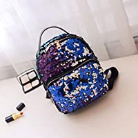 BZ914College Wind Bling Sequin Women Soft PU Leather Backpack Casual Teenage Girls Female School Travel Shoulder Bag