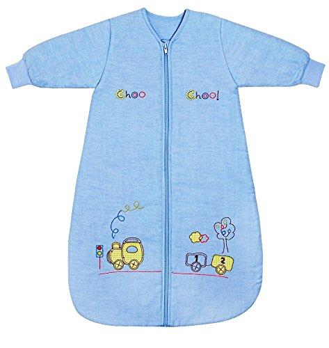 Schlummersack Ganzjahres Babyschlafsack Junge mit langen Ärmeln in blau 2.5 Tog 110cm/12-36 Monate mitwachsend - Zug