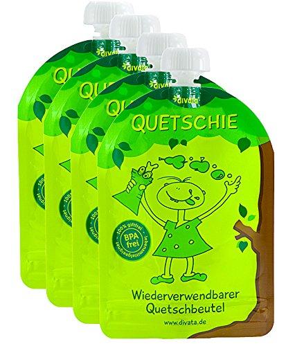 divata Quetschies 170ml (4er Pack), BPA-frei - wiederverwendbare Quetschbeutel zum selbst befüllen mit u.a. Yoghurt, Smoothies, Mus. Ideal für Kita- & Schul-Kinder
