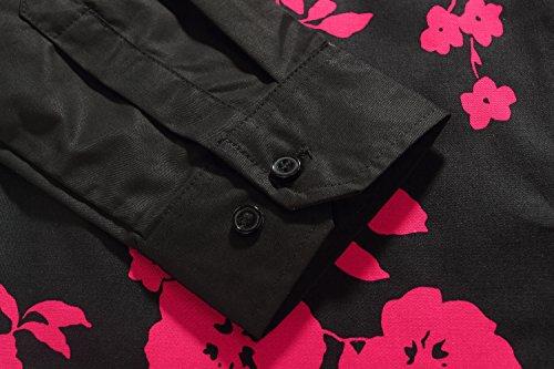 SSLR Chemise Homme Manche Longue Casual à Fleur Slim Fit Noir et Rouge