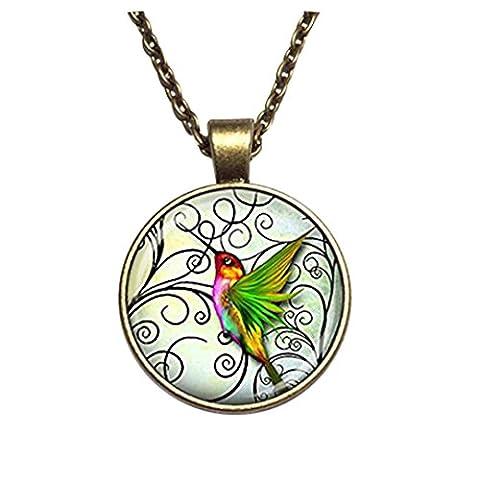 Cabochon Dôme en verre colibri New Fashion Jewelry Collier Colibri Vert fait main bijoux fashion pour femme