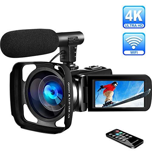 Videokamera 4K Camcorder Ultra HD WiFi Camcorder mit Mikrofon Digitaler Camcorder Full HD 30.0MP IR Nachtsicht-Videokamera 16-facher Digitalzoom 3,0-Zoll-Touchscreen mit Gegenlichtblende