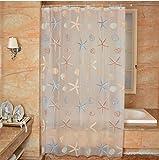 ZGP &Badezimmer PEVA Badezimmer Duschvorhang Seestern Muster Wasserdicht Druck Stoff Duschvorhang Regenmantel Mildiou Natürlich Frisch (Größe : 200 Wide*180 High+Ring)