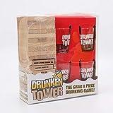 Original Cup Drunken Tower Qualité Premium - Jeu d'Alcool La Tour Infernale avec Gages - 60 Blocs en Bois - 4 Verres à Shooters