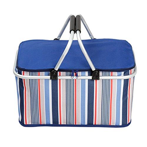 Dexinx Weich Kühlung Kasten Faltbarer Lunchbox Robust Picknick-Box Im Freien Blau 48*28*24cm