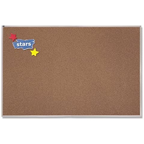 Quartet Premium Colored Cork Bulletin Board, 18 x 24 Inches, Brown with Aluminum Frame (PCKA152) by