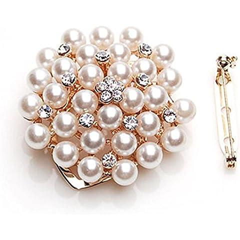 Bella d'oro placcato finte perle strass cristallo fiore foglia spilla Pin , a golden white diamond