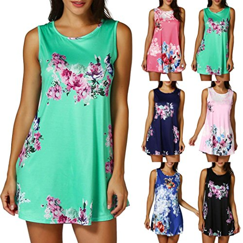 Kanpola Womens Casual Floral Printed Sleeveless Vest Shirt Ladies Tank Top Blouse Tunic Tops Summer Beachwear T-Shirt
