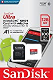 SanDisk Ultra 128GB microSDXC Memory Card  + SD Adapter with A1 App Performance  up to 100MB/s, Class 10, U1