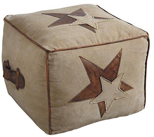 PEGANE Pouf en Coton et Cuir, Motif étoile, 40 x 40 x 35 cm