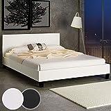 MIADOMODO Polster-Bett Bettgestell 140x200 / 180x200 cm in Creme-Weiß und Schwarz, mit Lattenrost aus pflegeleichtem Kunstleder