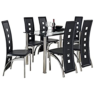 CRAZY SALE : Glass Square Dining Room Table Set and 6 Chairs Faux Leather Furniture : black