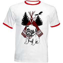 Teesquare1st PUG DOG PUGS LIFE Tshirt de hombre con bordes rojos Size XLarge